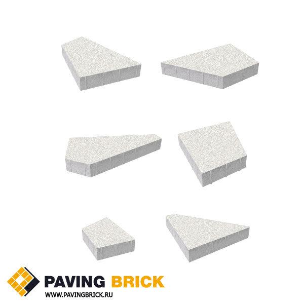Тротуарная плитка ВЫБОР Оригами Б.4.Фсм.8 Стандарт гладкий комплект из 6 форматов цвет Белый - фото 1