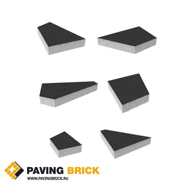 Тротуарная плитка ВЫБОР Оригами Б.4.Фсм.8 Стандарт гладкий комплект из 6 форматов цвет Черный - фото 1