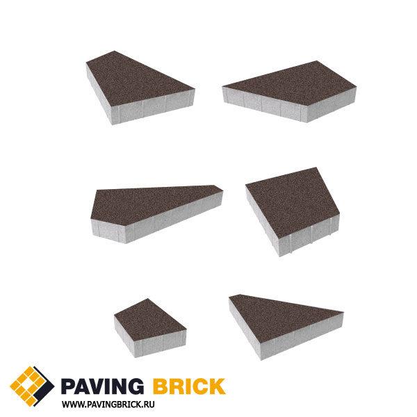 Тротуарная плитка ВЫБОР Оригами Б.4.Фсм.8 Стандарт гладкий комплект из 6 форматов цвет Коричневый - фото 1