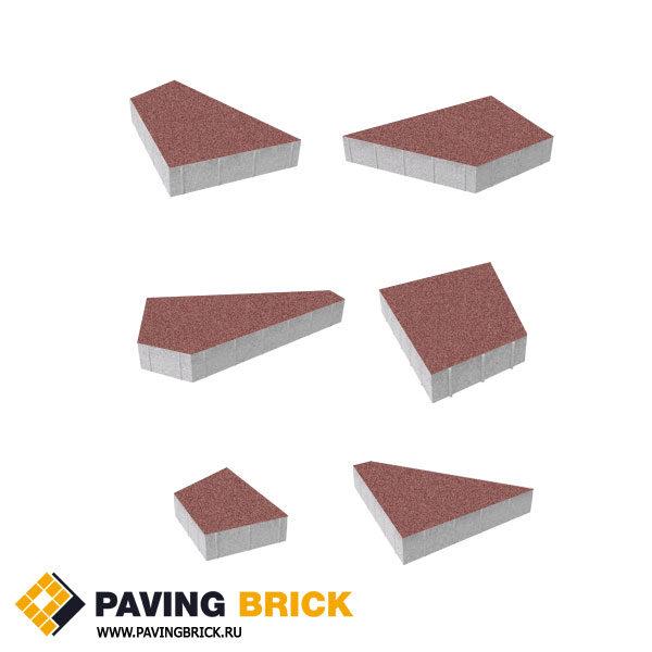 Тротуарная плитка ВЫБОР Оригами Б.4.Фсм.8 Стандарт гладкий комплект из 6 форматов цвет Красный - фото 1