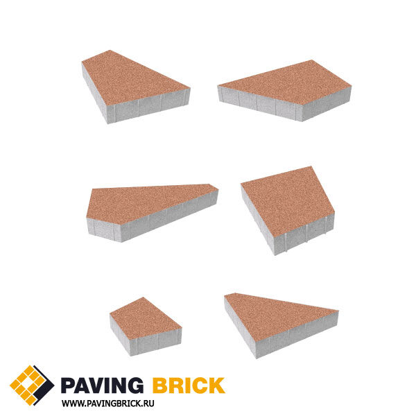 Тротуарная плитка ВЫБОР Оригами Б.4.Фсм.8 Стандарт гладкий комплект из 6 форматов цвет Оранжевый - фото 1