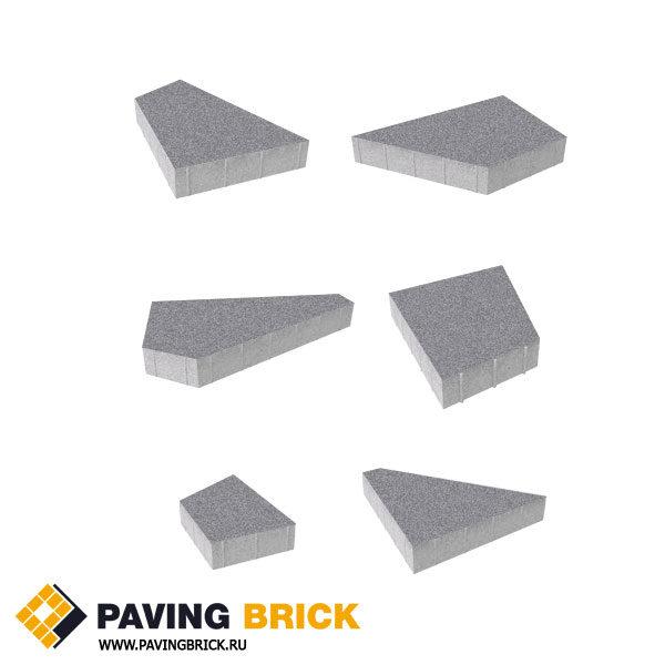 Тротуарная плитка ВЫБОР Оригами Б.4.Фсм.8 Стандарт гладкий комплект из 6 форматов цвет Серый - фото 1