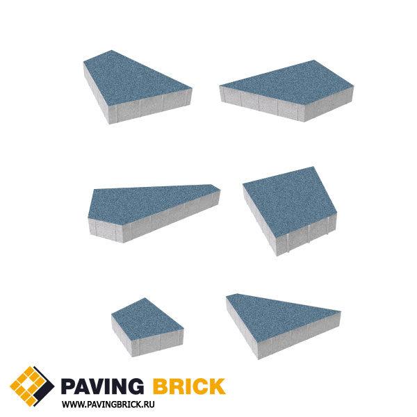 Тротуарная плитка ВЫБОР Оригами Б.4.Фсм.8 Стандарт гладкий комплект из 6 форматов цвет Синий - фото 1