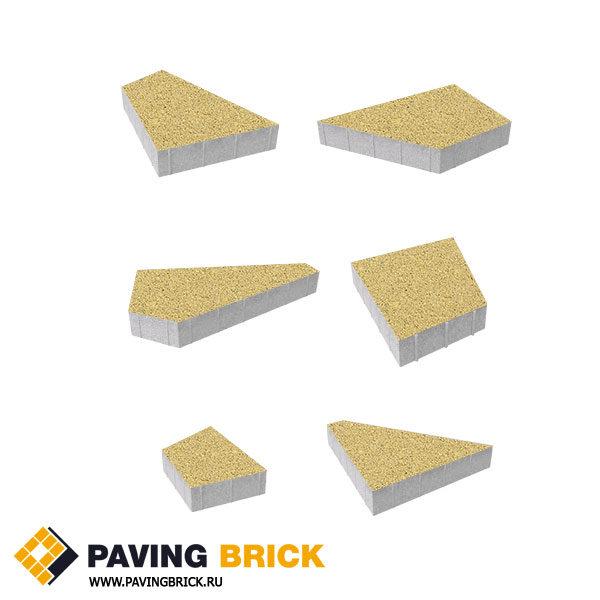 Тротуарная плитка ВЫБОР Оригами Б.4.Фсм.8 Стандарт гладкий комплект из 6 форматов цвет Желтый - фото 1