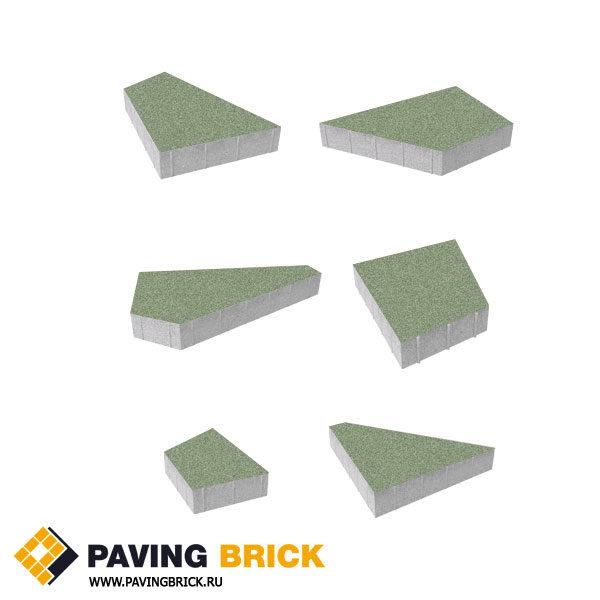 Тротуарная плитка ВЫБОР Оригами Б.4.Фсм.8 Стандарт гладкий комплект из 6 форматов цвет Зеленый - фото 1