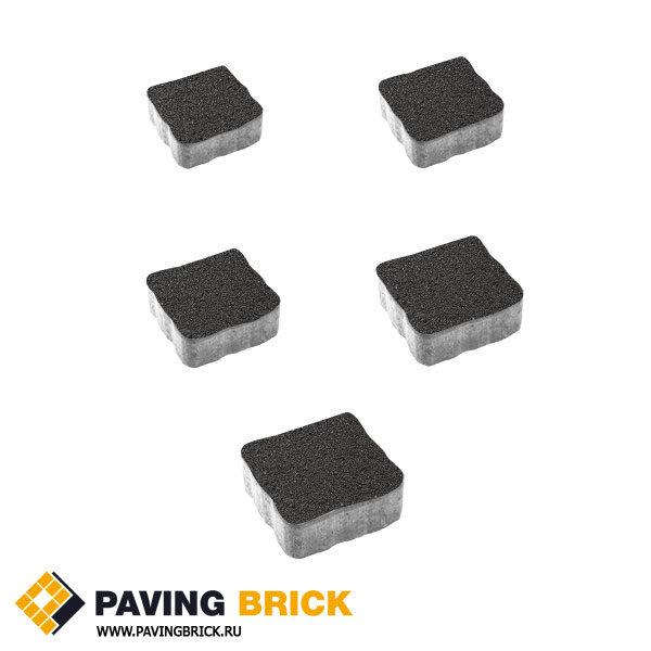 Тротуарная плитка ВЫБОР АНТИК Б.3.А.6 Гранит комплект из 5 форматов цвет Черный - фото 1