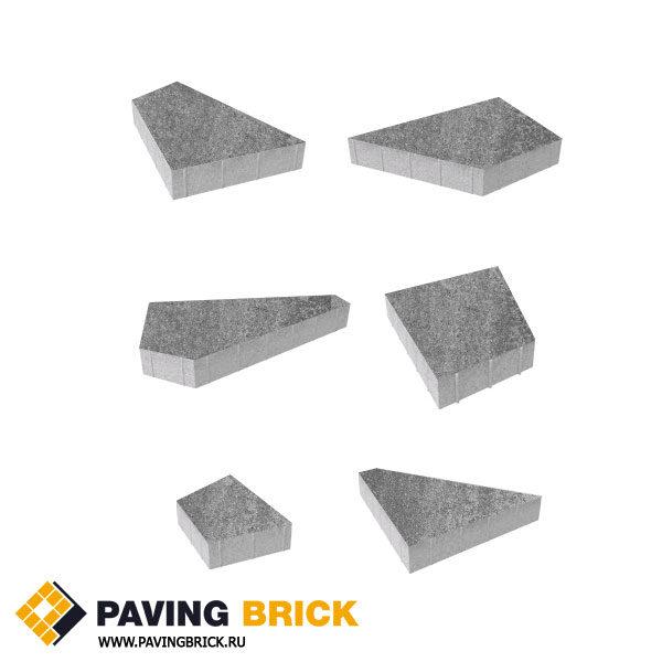 Тротуарная плитка ВЫБОР Оригами Б.4.Фсм.8 Искусственный камень комплект из 6 форматов цвет Шунгит - фото 1